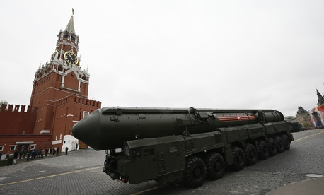In this Tuesday, May 9, 2017 file photo, Russian Topol M intercontinental ballistic missile launcher rolls along Red Square in Moscow.