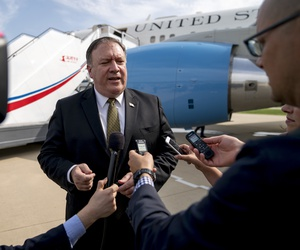 U.S. Secretary of State Mike Pompeo speaks to members of the media on July 7, 2018 following two days of meetings with Kim Yong Chol, a North Korean senior ruling party official, before boarding his plane in Pyongyang.