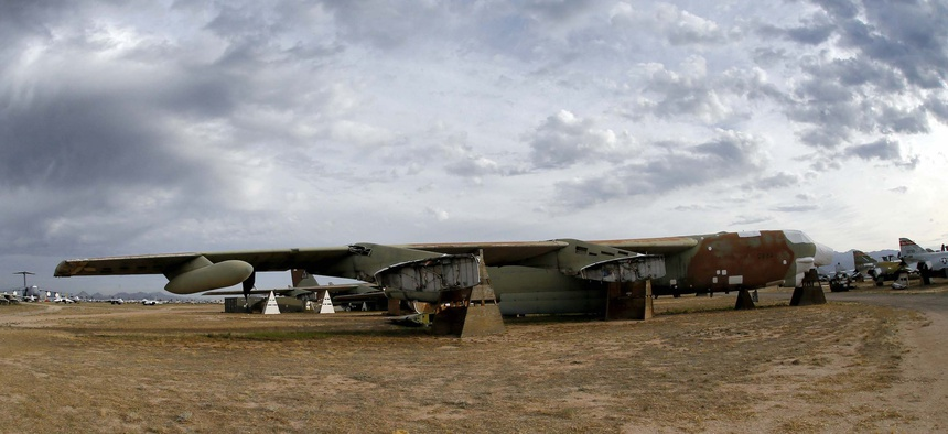 The 39th and final B-52G Stratofortress, tail number 58-0224, accountable under the New START Treaty (Strategic Arms Reduction Treaty) with Russia, is shown at the boneyard at Davis-Monthan Air Force Base, Arizona.
