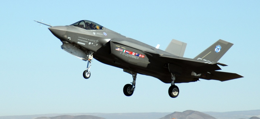 An F-35 Joint Strike Fighter, marked AA-1, lands at Edwards Air Force Base, Calif.