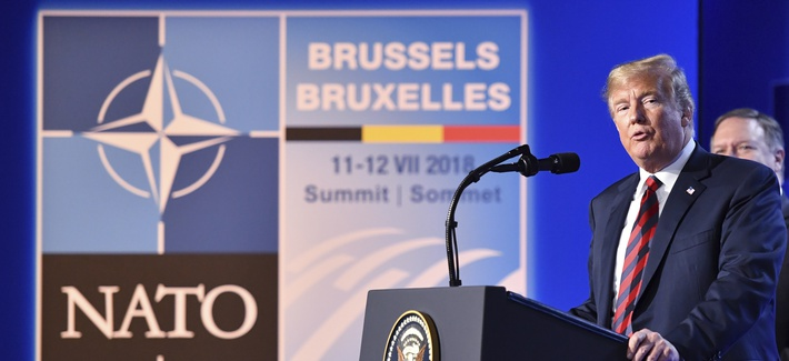 President Donald Trump speaks during a press conference during a summit of heads of state and government at NATO headquarters in Brussels, Belgium, Thur., July 12, 2018.