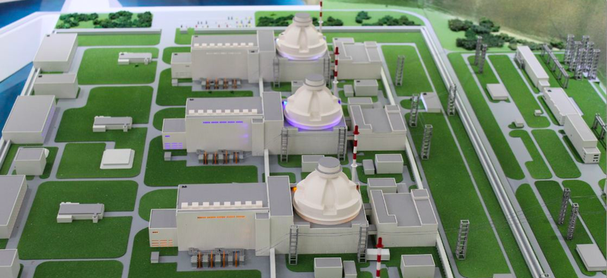 A model of the Akkuyu Nuclear Power Plant in Mersin, Turkey.