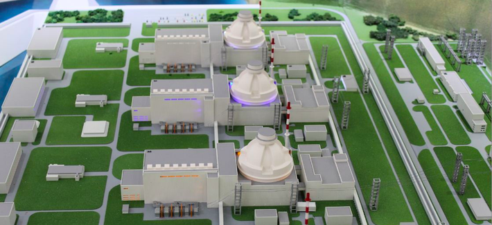 A model of the Akkuyu Nuclear Power Plant in Mersin, Turkey.