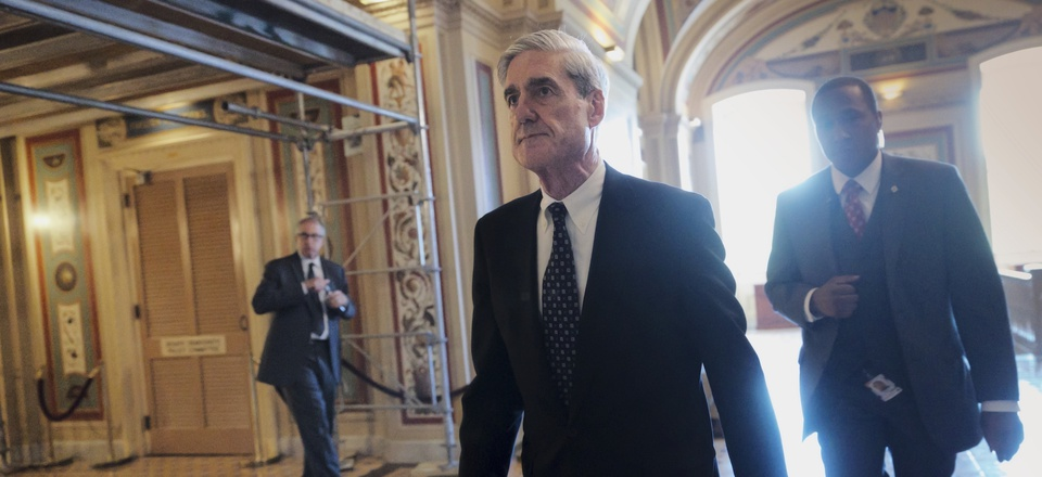 In a photo taken Wednesday, June 21, 2017, Special Counsel Robert Mueller departs after a closed-door meeting with members of the Senate Judiciary Committee.