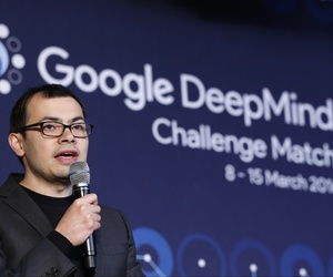 Google DeepMind CEO Demis Hassabis answers a reporter's question during a press event after finishing the final match of the Google DeepMind Challenge Match against Google's artificial intelligence program, AlphaGo, in Seoul, South Korea, March 15, 2016.