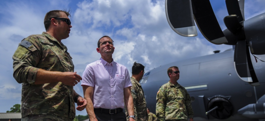 Will Roper, then director of strategic capabilities for the office of the Secretary of Defense, visits Hurlburt Field to get a better understanding of Team Hurlburts Air Commandos and their capabilites on July 25, 2017.