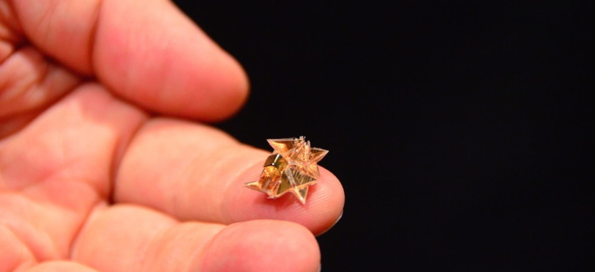 At the 2015 ICRA, researchers from MIT demonstrated an untethered miniature origami robot that self-folds, walks, swims, and degrades