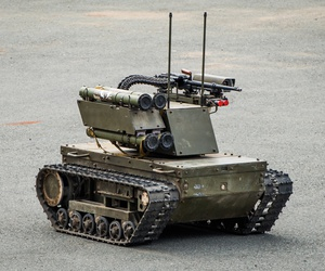 A Russian Army Platform-M robot, which can be used both for patrolling and attacks, at a 2016 exhibition in Vladivostok, Russia.