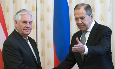 US Secretary of State Rex Tillerson and Russian Foreign Minister Sergey Lavrov, shakes hands prior to their talks in Moscow, Russia, Wednesday, April 12, 2017.