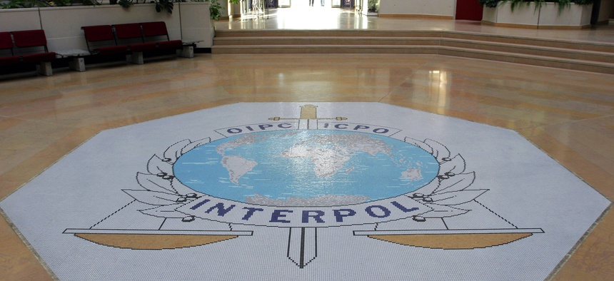 This Oct.16, 2007 file photo shows the entrance hall of Interpol's headquarters in Lyon, central France.
