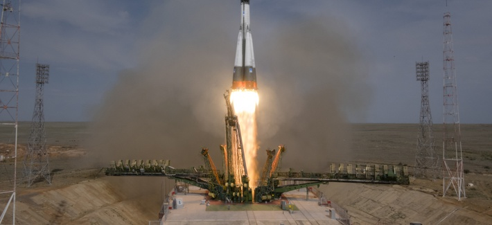 The Soyuz-FG rocket booster with Soyuz MS-09 space ship carrying a new crew to the International Space Station, ISS, blasts off at the Russian leased Baikonur cosmodrome, Kazakhstan, Wednesday, June 6, 2018.