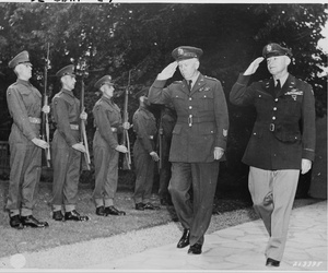 "Gen. George C. Marshall, U. S. Army Chief of Staff, and Gen. Henry ""Hap"" Arnold, Commanding General, U. S. Army Air Forces, arrive at the residence of Prime Minister Winston Churchill for a dinner given by the British Prime Minister on July 23, 1945."