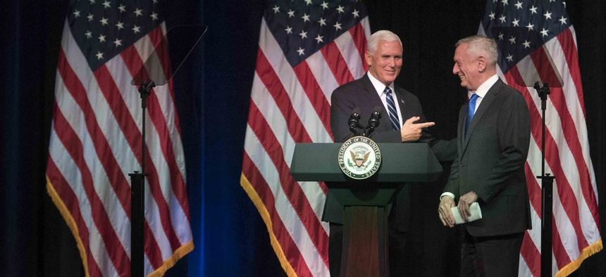 At the Pentagon, Vice President Mike Pence and Defense Secretary Jim Mattis announce the Trump administration's plan to create a new military service branch, Space Force, on Thurs., Aug. 9, 2018.