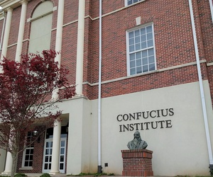 View of the Confucius Institute building on the Troy University campus.