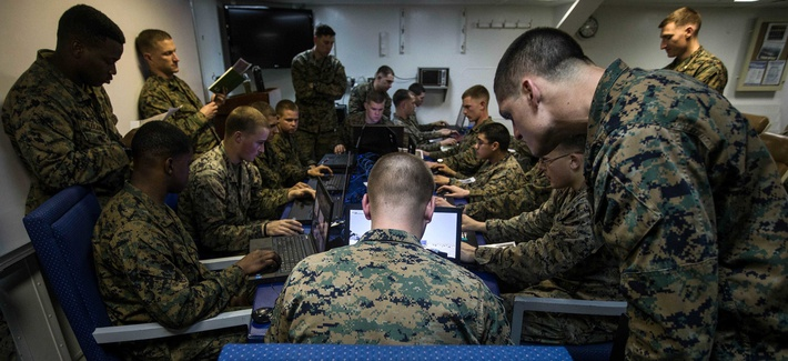 MEDITERRANEAN SEA (March 3, 2018) U.S. Marines assigned to Battalion Landing Team, 2nd Battalion, 6th Marine Regiment (BLT 2/6), 26th Marine Expeditionary Unit (MEU), conduct simulated squad-level integrated training with Virtual Battlespace Simulator.