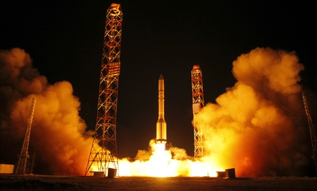 The Proton-M rocket booster blasts off at the Russian leased Baikonur cosmodrome, Kazakhstan, Tuesday, Sept. 12, 2017. The Russian rocket carries Amazonas 5, a Ku- and Ka-band communications satellite for broadband and telecommunications services.