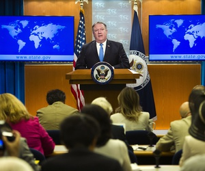 Secretary of State Mike Pompeo announces the creation of the Iran Action Group at the State Department, in Washington, Thursday, Aug. 16, 2018.