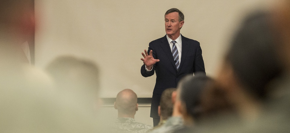 Retired U.S. Navy Adm. William H. McRaven speaks to service members inside the Pfingston Reception Center located on Joint Base San Antonio – Lackland, Texas, January 10, 2018.