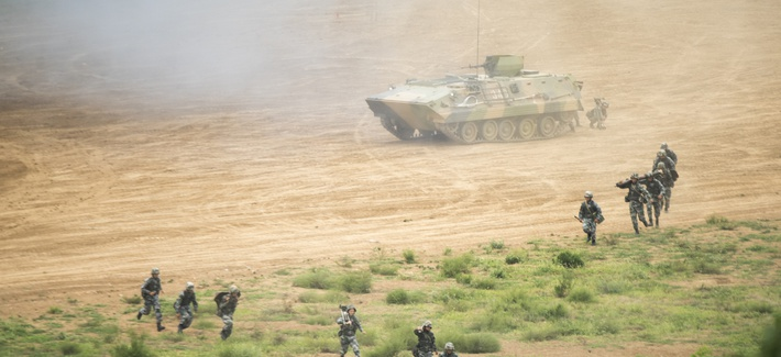 An attack exercise with People's Liberation Army Gen. Song Puxuan, commander, Northern Theater Command, at a PLA base in Shenyang, China, Aug. 16, 2017.