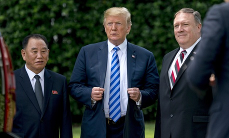 President Donald Trump, North Korean aide Kim Yong Chol, and Secretary of State Mike Pompeo at White House in Washington, Friday, June 1, 2018.