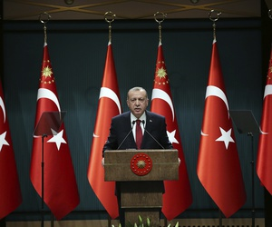 Turkey's President Recep Tayyip Erdogan announces early presidential and parliamentary elections for June 24, 2018, at the Presidential Palace, in Ankara, Turkey, Wednesday, April 18, 2018.