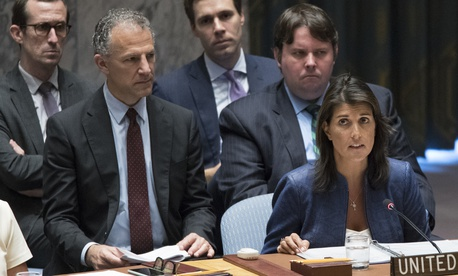 American Ambassador to the United Nations Nikki Haley speaks during a Security Council meeting on threats to international peace and security caused by terrorist acts, Thursday, Aug. 23, 2018 at United Nations headquarters.