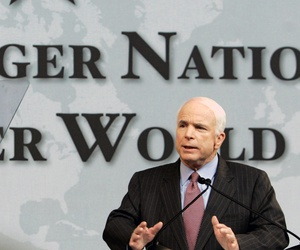 During his presidential run, Sen. John McCain, R-Ariz., spoke for nuclear disarmament at Denver University on May 27, 2008.
