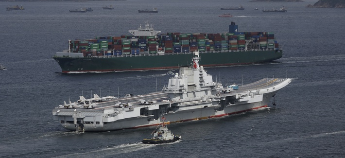 Liaoning, China's first aircraft carrier, sails into Hong Kong for a port call in 2017.