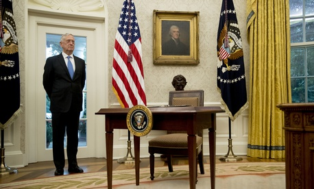 Defense Secretary Jim Mattis attends a swearing in ceremony for Robert Wilkie as Secretary of the Department of Veterans Affairs in the Oval Office of the White House, Monday, July 30, 2018, in Washington.