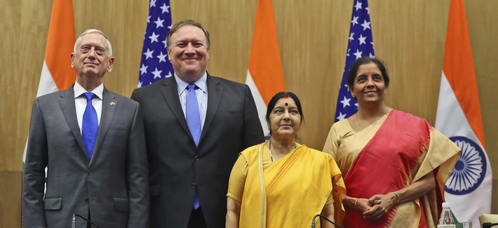 "U.S. Defense Secretary James Mattis, U.S. Secretary of State Mike Pompeo, Indian Foreign Minister Sushma Swaraj and Indian Defense Minister Nirmala Sitharaman pose after making a joint statement after the ""2+2"" meeting in New Delhi, India, Sept. 6, 2018."