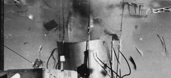 A Titan 1, Booster Missile body, left, is blown apart, right, by a high-powered chemical laser fired from a distance of sixth-tenths of a mile during a test at the White Sands Missile range is New Mexico on Sept, 6, 1985.