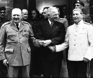 A photo from July 23, 1945 showing the handshake between Winston Churchill, left, Harry S. Truman and Josef Stalin, right infront of Churchill's residence in Potsdam, Germany.