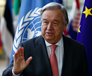 U.N. Secretary-General Antonio Guterres arrives for a meeting at the EU Council in Brussels, Belgium, May 15, 2018.