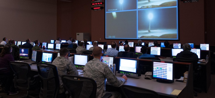 Members of the 576th Flight Test Squadron oversee the launch of an unarmed Minuteman III missile March 27, 2015 at Vandenberg Air Force Base during an operational test launch.