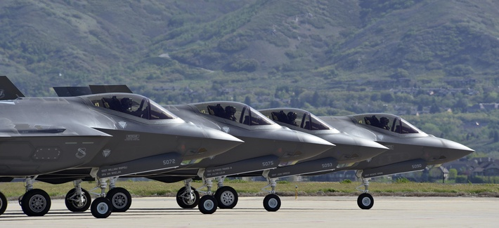 Four F-35 Lightning II aircraft prepare for takeoff at Hill Air Force Base, Utah, May 4. Hill's active duty and Reserve F-35 pilots recently began flying routine four-ship configurations, just as they would in combat.