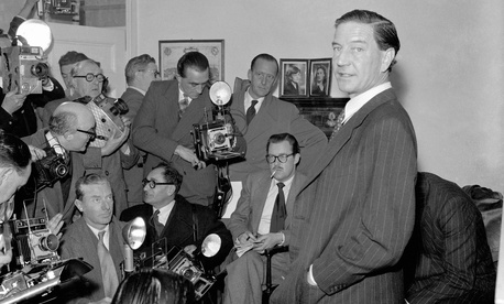 In this file photo dated Nov. 8, 1955, former British diplomat who was at that time accused of spying for Russia, during a press conference at his parents' home in London on Nov. 8, 1955.