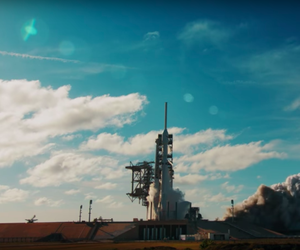 The February 2018 launch of the SpaceX Falcon Heavy rocket.