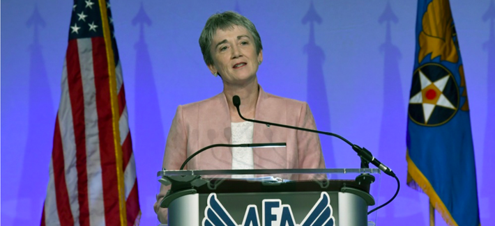 "Secretary of the Air Force Heather Wilson delivers her the ""Air Force We Need,"" address during the Air Force Association Air, Space and Cyber Conference in National Harbor, Maryland, Sept. 17, 2018."