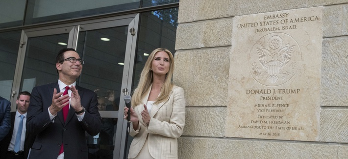 U.S President Donald Trump's daughter Ivanka, right, and US Treasury Secretary Steve Mnuchin during the opening ceremony of the new US embassy in Jerusalem, Monday, May 14, 2018.