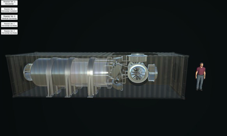 An artist's rendering shows the microreactor's size relative to a human adult and a shipping container.