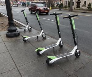 Dockless scooters are show in D.C. in April.