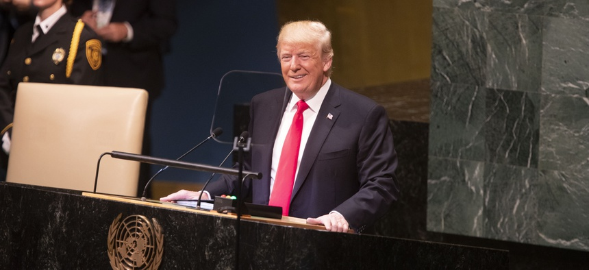 President Donald J. Trump addresses the 73rd session of the U.N. General Assembly Tuesday, Sept. 25, 2018, at the United Nations Headquarters in New York.