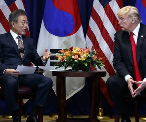 President Donald Trump meets with South Korean President Moon Jae-In at the Lotte New York Palace hotel during the United Nations General Assembly, Monday, Sept. 24, 2018, in New York.