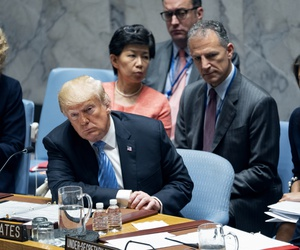 President Donald Trump listens to a council member at a United Nations Security Council meeting during the 73rd session of the United Nations General Assembly, at U.N. headquarters, Wednesday, Sept. 26, 2018.
