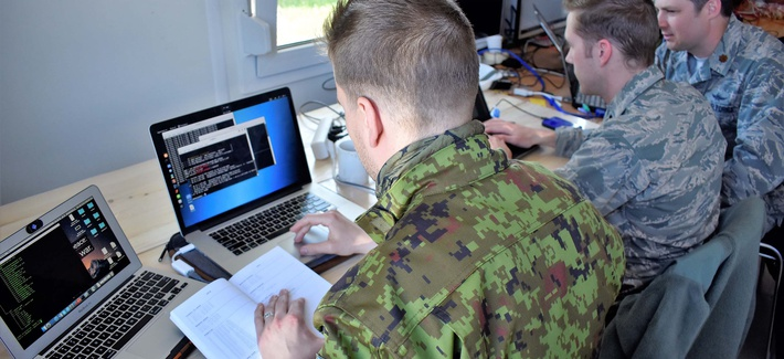 In southern Estonia, Maryland Guard cyber warfare operators from the 175th Wing's Cyber Operations Group support Exercise Hedgehog on May 7, 2018.