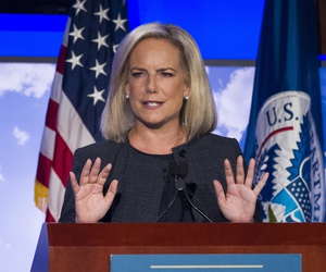 Secretary of Homeland Security Kirstjen Nielsen speaks to George Washington University's Center for Cyber and Homeland Security, in Washington, Wednesday, Sept. 5, 2018.