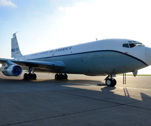 An OC-135 Open Skies aircraft parked on a ramp at Offutt Air Force Base, Nebraska Sept. 14, 2018. The U.S. Air Force operates two modified Boeing 707 aircraft as part of the 1992 Open Skies treaty.