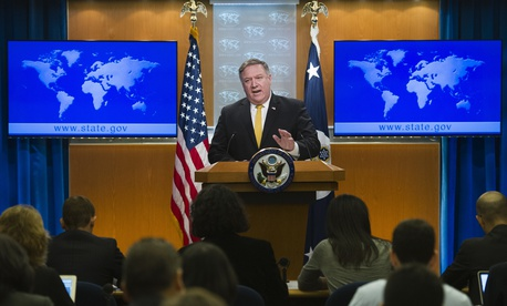 Secretary of State Mike Pompeo briefs reporters at the State Department in Washington, Wednesday, Oct. 3, 2018.