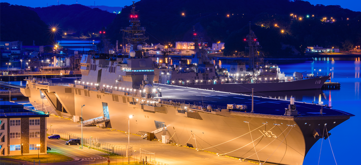 Japan's Izumo helicopter carrier, pierside at Yokosuka naval port in Toyko, Japan, in May 2015.