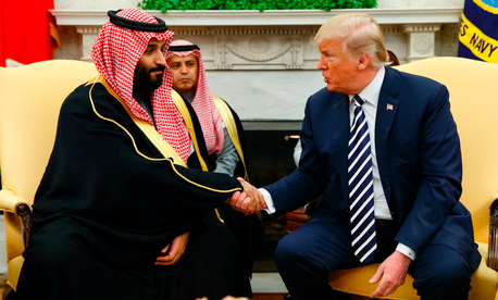 In this March 20, 2018, file photo, President Donald Trump shakes hands with Saudi Crown Prince Mohammed bin Salman in the Oval Office of the White House in Washington.